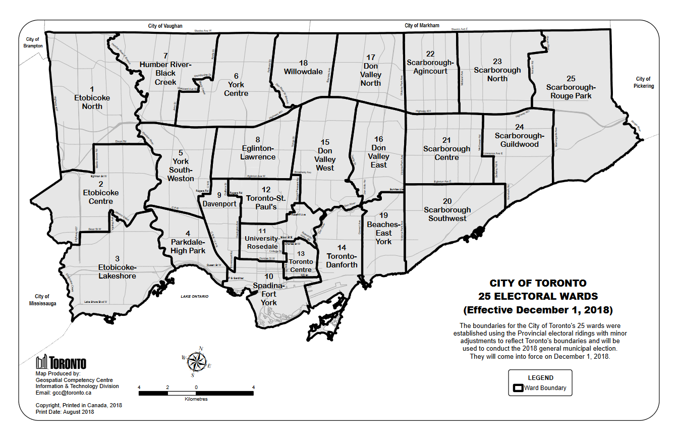 Map of new Toronto wards