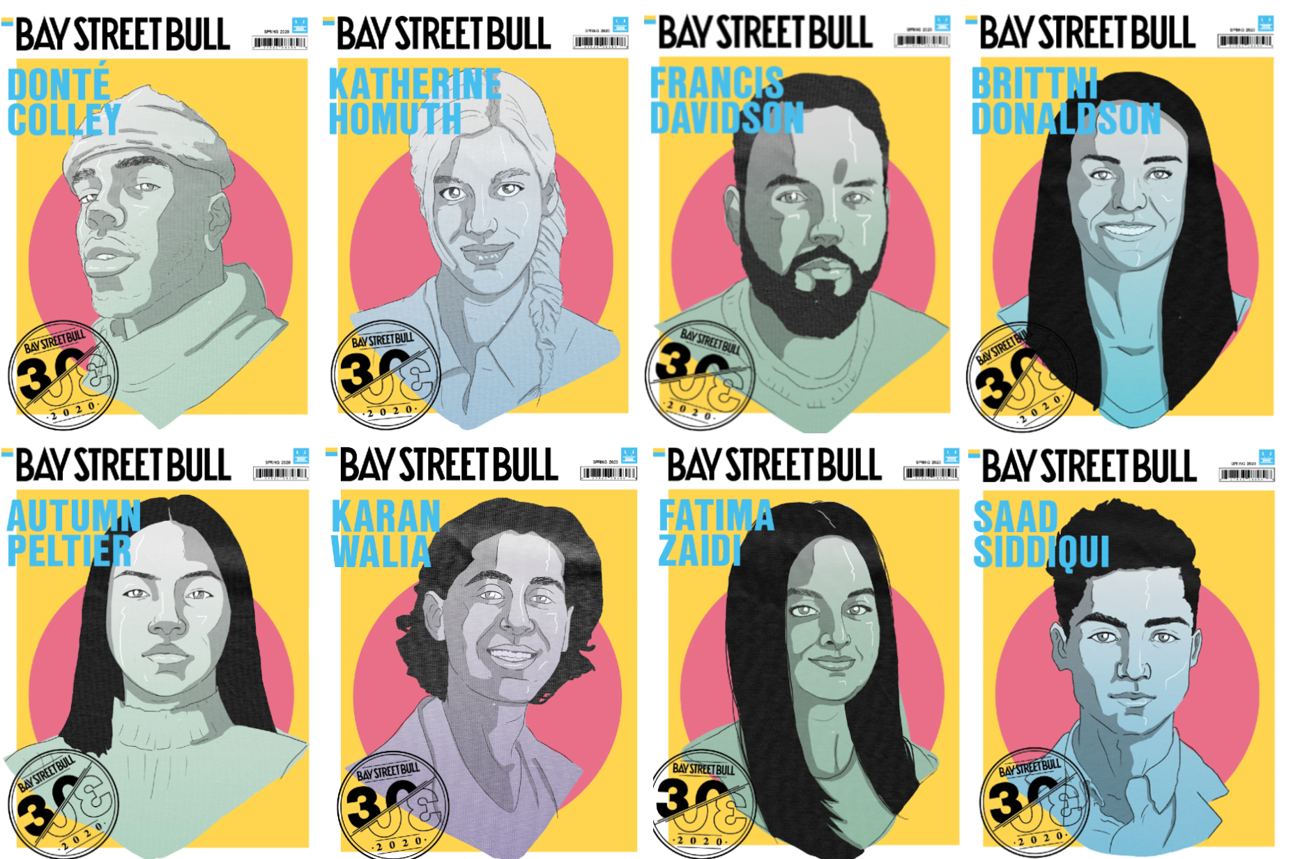 Image displaying various covers for the Bay Street Bull 30X30 issue